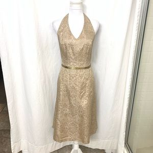Davids Bridal Gold Formal Halter Dress 12
